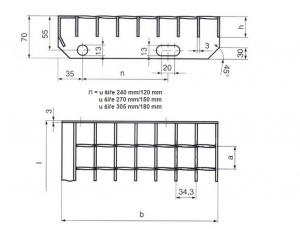 kovová schodnice technický nákres