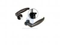 Klika kovová s červíkem, černě lakovaný hliník