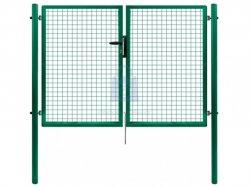 Brána dvoukřídlá, výplň svařované pletivo PVC, FAB, včetně dvou sloupků, PILGATE