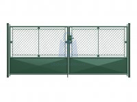 Brána dvoukřídlá, výplň pletivo PVC + 1/3 plech, atyp