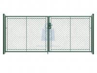 Brána dvoukřídlá, vypletená pletivem PVC, s klikou, včetně dvou sloupků