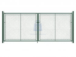 Brána dvoukřídlá, výplň pletivo PVC, OKO, včetně dvou sloupků