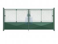 Brána dvoukřídlá, výplň pletivo PVC + 1/3 plech, OKO, včetně dvou sloupků