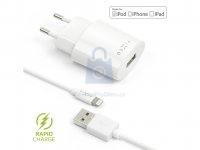 Set síťové nabíječky FIXED s USB výstupem a USB/Lightning kabelu