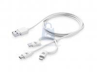 USB kabel CellularLine se třemi adaptéry Lightning + Micro USB + USB-C