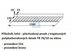 Příložník čelní pro  TR 76/16 a TR 76/18