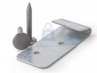 Spona/příchytka k upevnění okapové krytiny včetně hřebu, nerez