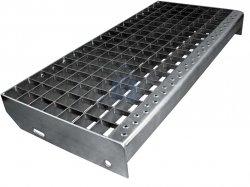 Stupeň schodišťový lisovaný, nosný pásek 30/2, žárově pozinkovaný, atypický