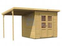 Domek zahradní s přístavkem, dřevěný, KARIBU MERSEBURG