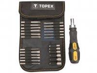 Šroubovák s ráčnou + bity a hlavice, 26 ks, Topex
