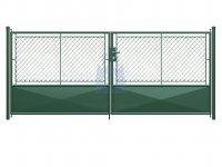 Brána dvoukřídlá, výplň pletivo PVC + 1/3 plech, FAB, včetně dvou sloupků